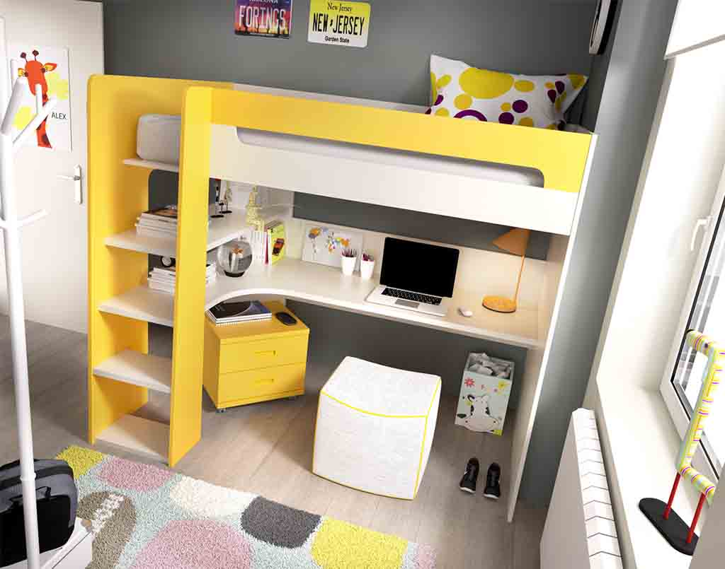 Gu a para elegir el dormitorio juvenil la cama - Cama litera con escritorio debajo ...