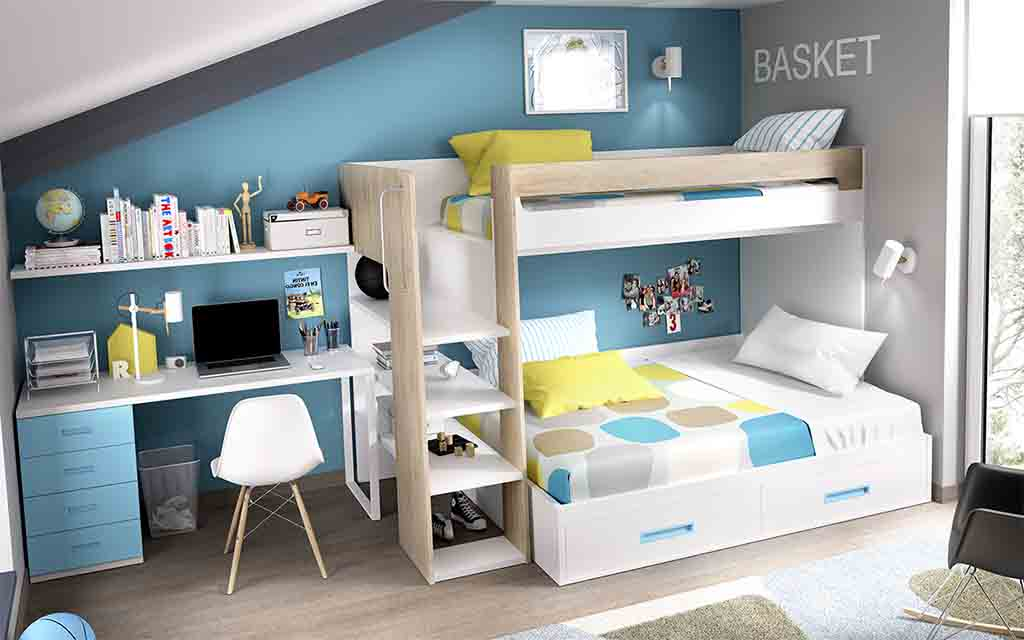 cama litera con cama doble inferior cajones y arcn abatible with dormitorios infantiles dobles