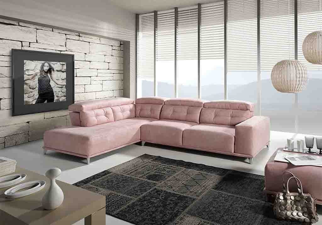 Sofá ChaiseLongue acomodel tapizado rosa cuarzo
