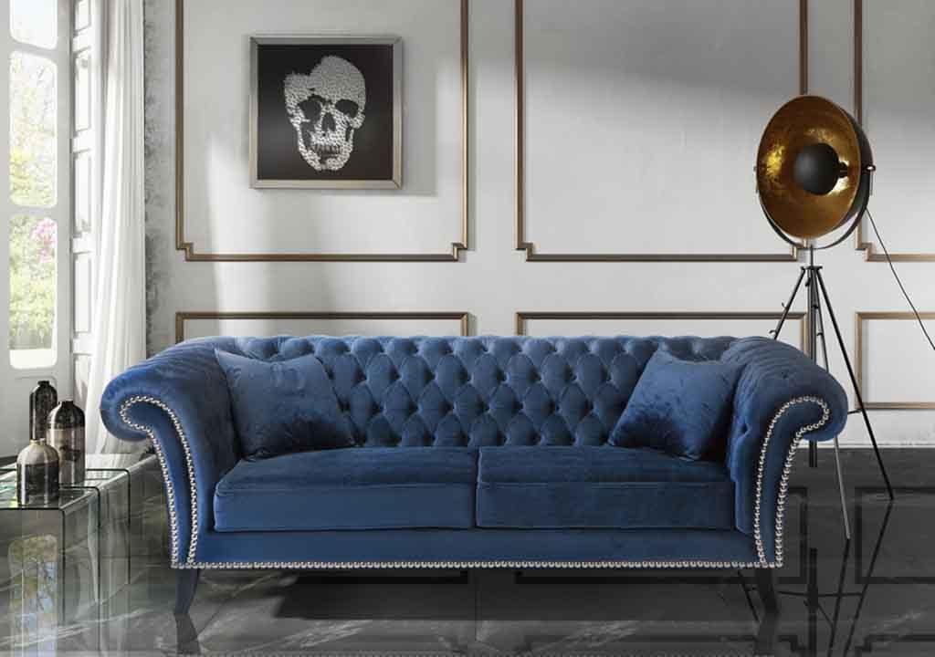 Sofá chester tapizado terciopelo