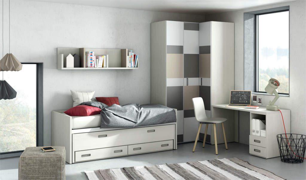 Dormitorio Juvenil con colores neutros.