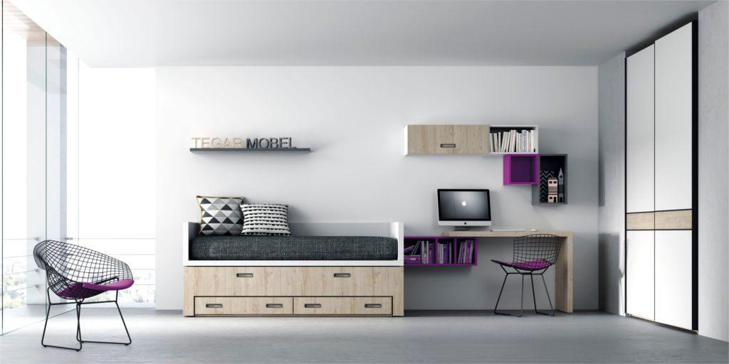 Dormitoro Juvenil con colores neutros, añade un toque de color con detalles como estantes o cojines.