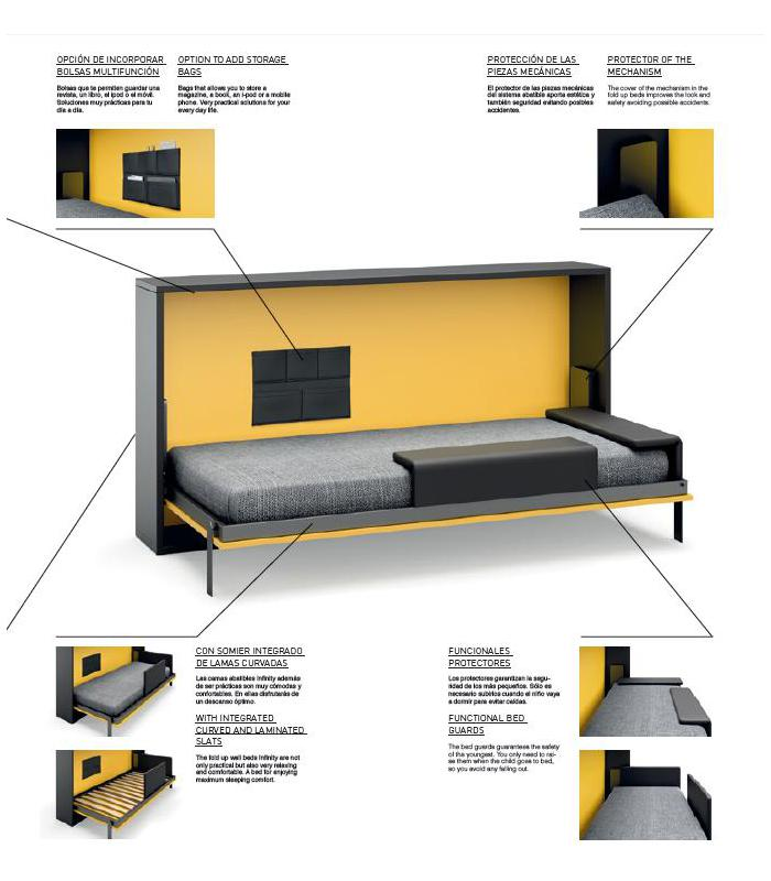 Cama abatible juvenil modelo infinity 25 de jjp - Sistema cama abatible ...