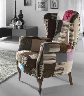 Sillón tapizado en patchwork PERÚ