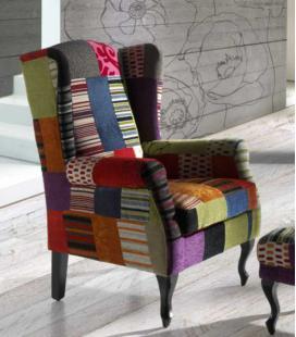 Sillón tapizado en patchwork Teide