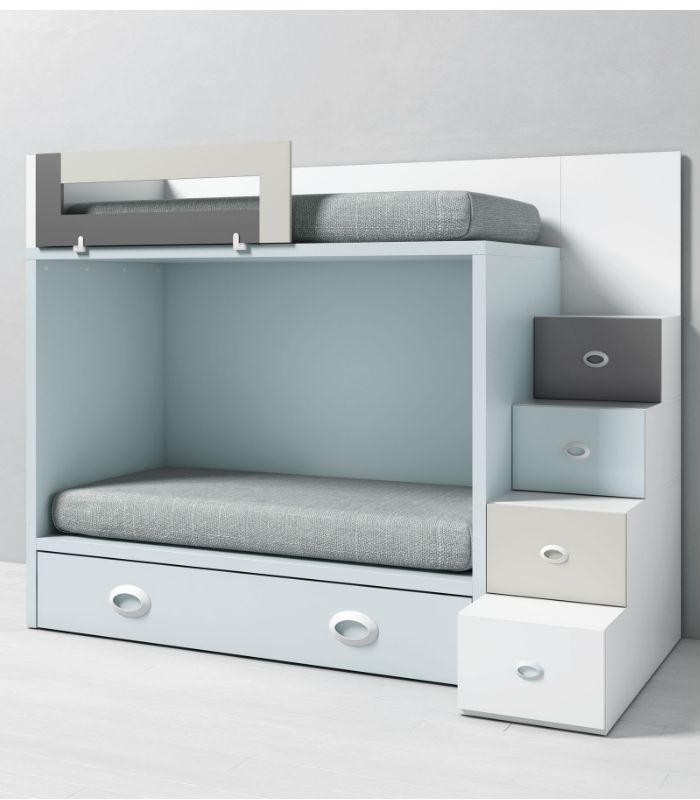 Litera infantil dado con cama nido y escalera lateral - Litera con cama de matrimonio ...