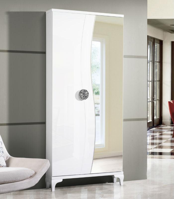 Zapatero vestidor con espejo de cubimobax for Mueble zapatero con espejo