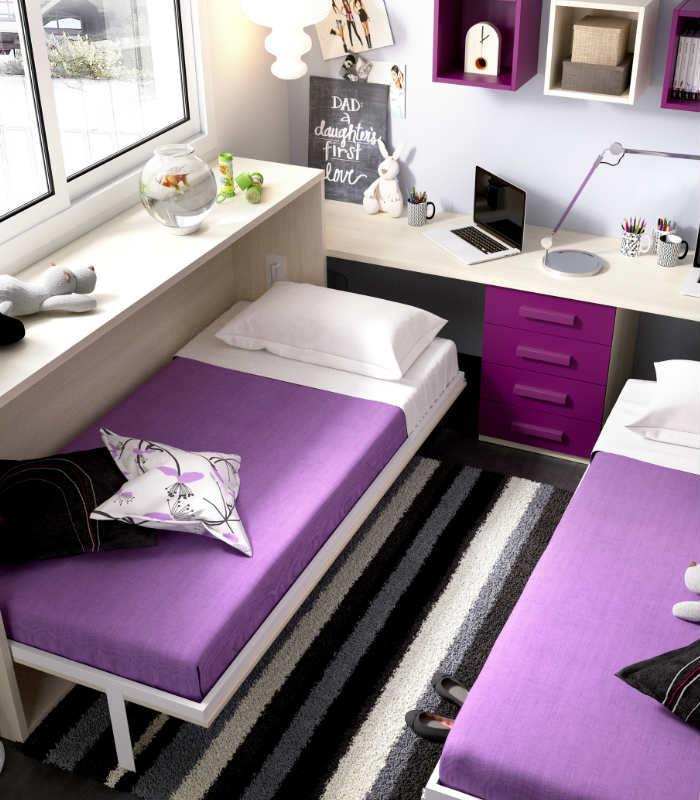 Cama abatible juvenil mundo joven 407 de rimobel for Habitaciones de dos camas juveniles