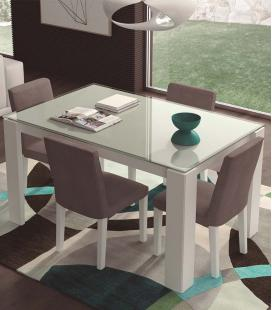 Mesa de comedor extensible tapa cristal