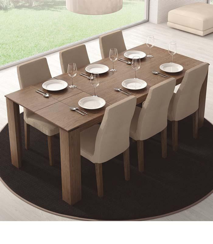 Mesa de comedor extensible rectangular de egelasta for Mesas de salon comedor