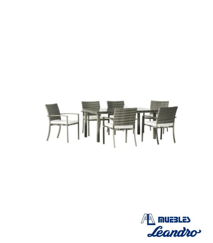 Conjunto mesas y sillas rimini de hevea for Conjunto mesa y sillas terraza