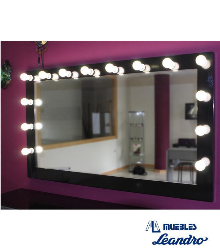 Espejo de maquillaje lacado xl horizontal de decoraci n for Espejo horizontal