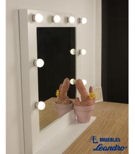 Espejo de Maquillaje lacado cuadrado con estante
