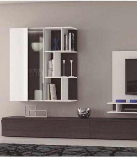 Panel TV con vitrina colgada y módulo bajo de EGELASTA