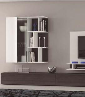 Panel TV con vitrina colgada y modulo bajo