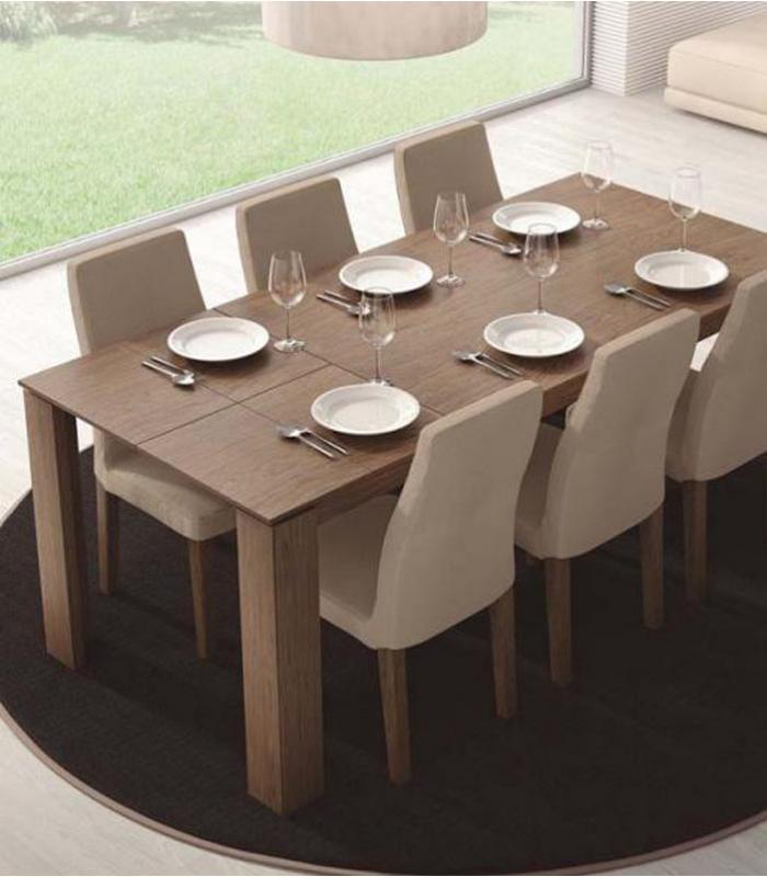 Mesa de comedor extensible rectangular de egelasta for Mesa comedor rectangular madera