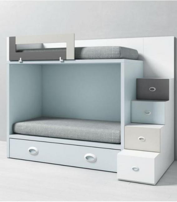 Litera dado infantil con escalera para cama nido - Habitacion infantil cama nido ...