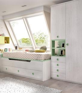 Compacto 2 camas + armario composición H103