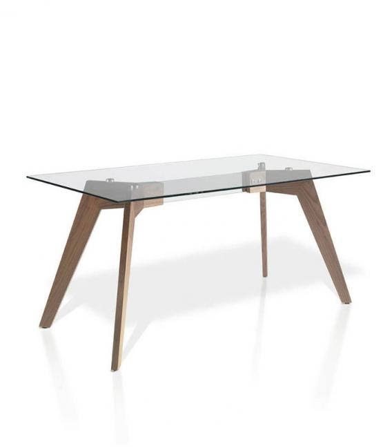 Mesa comedor con patas madera chapada Nogal Muebles Ángel Cerdá